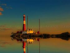 PHOTO SEASCAPE LIGHTHOUSE REFLECTION RED WHITE DUSK SUNSET CALM POSTER BMP10292