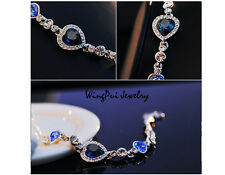 Sparkling 2017 Made with Swarovski Heart Blue Crystal 18K Gold Plated Bracelet