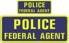 """POLICE FEDERAL AGENT 4 X 10"""" and 2x5 hook navy background yellow letters"""