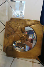 "Vintage 1979 Pressed Wood UNICORN Mirror Signed by Artist W. Abell Jr 13"" x 13"""