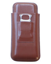 """3 Stick Leather Cigar Case with Cutter Up to 54RG x 8 1/2"""" Capacity Brown"""
