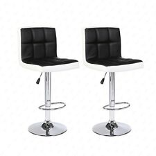 New Set of 2 Bar Stools Leather Adjustable Swivel Pub Chair In Black and White