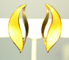 VTG NORWAY STERLING SILVER YELLOW GUILLOCHE ENAMEL EARRINGS SIGNED HROAR PRYDZ