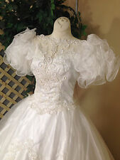 RUFFLED SHORT SLEEVE WHITE WEDDING DRESS GOWN PEARLS SEQUINS BY MICHAELANGELO