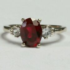 10K White Gold Garnet Solitaire Ring w/ Accents January Birthstone SIZE 4