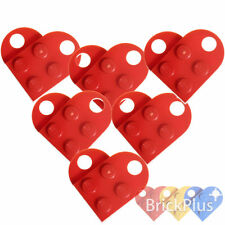 LEGO 12x Coupling Red Plate, Modified 3x2 with Hole 3176 Heart Charm - NEW