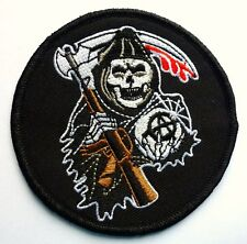 GRIM REAPER ANARCHY - SEW ON BIKER MOTORCYCLE PATCH 86mm by 86mm