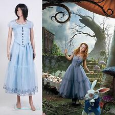 Tim Burton's Alice In Wonderland Alice Blue Dress Cosplay Costume *Custom Made*