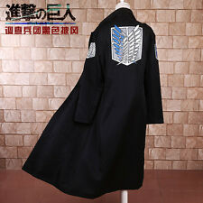 Anime Attack On Titan Survey Legion Costume Cosplay Black Clothing Cloak Cape #T