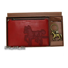 NWT Coach Horse and Carriage Leather Wristlet w/ Horse Key Fob 68904 Rare Red