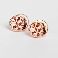 Tory Burch Rose Gold Logo Circle Stud Earrings New