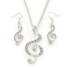 Diamante 'Treble Clef' Pendant With Long Silver Tone Chain & Drop Earrings S