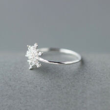Elegant 925 Soild Silver Diamond Snowflake Open Adjustable Sterling Ring Jewelry