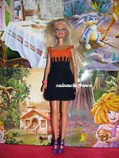 robe poupée  barbie halloween orange et noire faite main france modèle top pop