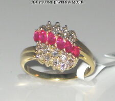 SPECTACULAR ESTATE 14K YELLOW GOLD MARQUISE RED RUBY & DIAMOND RING Size 6.25