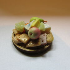 Cheese, Biscuit &Selection ~ on WOODEN BOARD ~ Doll House Miniature ~ 1/12 scale