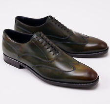 NIB $895 ERMENEGILDO ZEGNA Antiqued Green Wingtip Balmoral US 11.5 D Dress Shoes