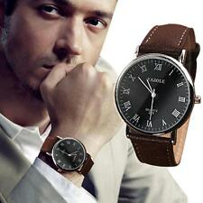 Men's Date Leather Band Stainless Steel New Military Sport Quartz Wrist Watch