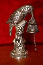 Vintage White Metal Bell with Bird Figurine, Spain
