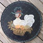 WOODEN CHARGER hand painted Chicken & Eggs ARTIST SIGNED basket DUCK ?