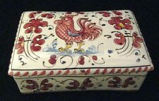Italian Grazia Deruta Pottery Trinket Box decorated with a Red Rooster