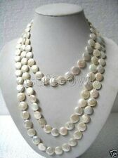 Genuine 11-13mm White Coin Pearl Long Necklace 35'' AAA+