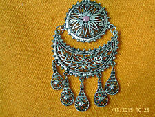 Moroccan Berber Jewelry: Superb Disc & Half Moon Filigree Pink Centre Necklace