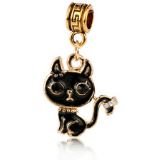 1pc 18k Gold Polished Black cat Charm Pendant fit European Silver Bracelet #A437