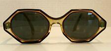 Retro 1950s Tortoise Shell Vtg Eye Glasses Rx Lens Hexagon Frames Steampunk Hip