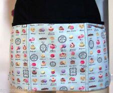 waist aprons,caterers, mini cupcake print half aprons,servers,w/zipper ,lt blue