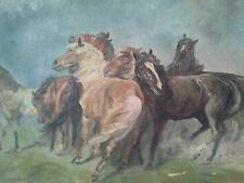 Antique Vintage Signed Karl Schmidt Horses Original Oil / Canvas Painting Horses