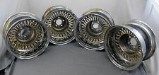 "Wicked Wires Reverse 60 Spoke Twisted Gold 13"" Chrome 5 x 100 Wheel Rim Set of 4"