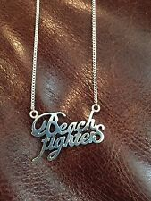 Quiksilver 925 Silver Beach Fighters Chain Necklace Pendant Japan VERY RARE