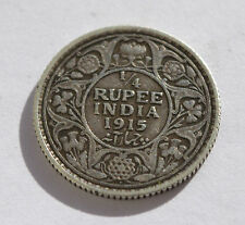 BRITISH INDIA 1/4 Rupee silver coin 1915 dot Bombay Mint. George V King Emperor.