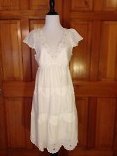BCBG MAX AZRIA White Beaded Trim Layered Lace Eyelet Cotton Women's Size 8 Dress