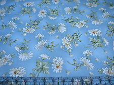 3 Yards Quilt Cotton Fabric - Maywood Gentle Breeze Daisies Daisy Toss Blue