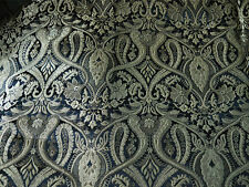 Silk Brocade Fabric Black and Gold Floral Pattern