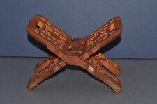 VINTAGE HAND CARVED WOODEN BIBLE / BOOK FOLDING STAND