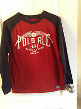 RALPH LAUREN POLO COTTON LONG SLEEVES PULLOVER TOP / T-SHIRT $99 WINGS sz M / L