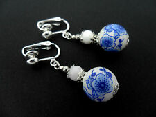 A PAIR OF PORCELAIN FLORAL BEAD  DROP DANGLY CLIP ON  EARRINGS. NEW.