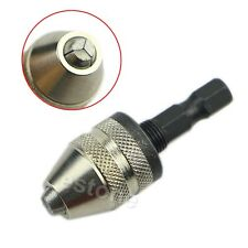 """1/4"""" Keyless Drill Bit Chuck Hex Shank Adapter Converter 0.3-3.6mm Quick Change"""