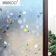 Rabbitgoo No Glue Static Cling Privacy Glass 3D Frosted Leaf Window Films