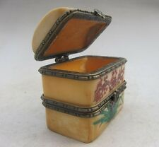 Rare Small  Unique Vintage Antique Camel Bone Plum Trinket Jewelry Box