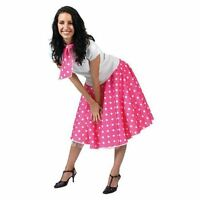 LADIES PINK POLKA DOT ROCK N ROLL SKIRT AND SCARF 50'S 60'S FANCY DRESS COSTUME