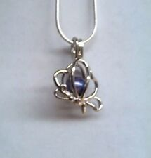 Make a Wish Pearl Cage Pendant Necklace - Butterfly 3 - 925 Chain+Pearl Included