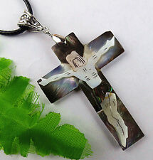 Beautiful natural Abalone shell carved crucifix pendant bead BC1199