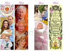 2 * PRINCESS CHARLOTTE KATE Prince WILLIAM BOOKMARK-Baby Girl Birth Announcement