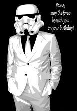 Stormtrooper Star Wars personnalisé Carte Anniversaire 2!! n'importe quel nom, relation & âge!
