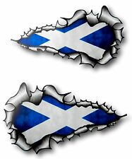 LONG Handed Pair Ripped Torn Metal Scottish Saltire Scotland Flag car sticker