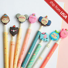 Lot 8pcs Cute Romane Cartoon Ball Point Pens Kawaii Animals Click Pencil Korean